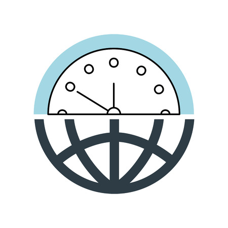 half globe plus half clock meaning time management vector illustration