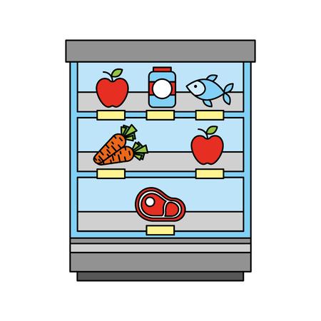 supermarket shop showcase fruits vegetable fridge shopping vector illustration Illustration