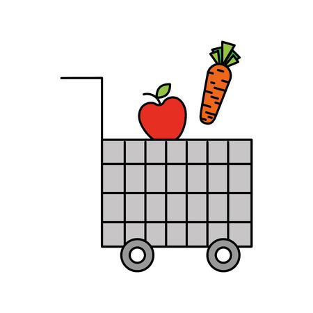 Carrito de compras carrito de verduras de verduras y frutas ilustración vectorial Foto de archivo - 85285216
