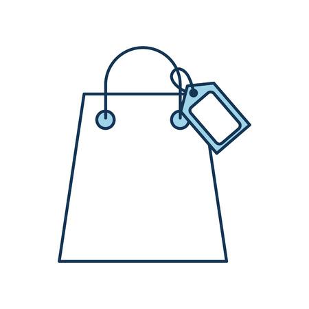 Sac à provisions en papier avec des poignées de papier et illustration vectorielle tag Banque d'images - 85285220