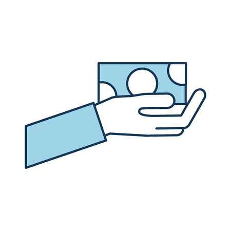 hand holding baknote cash payment vector illustration