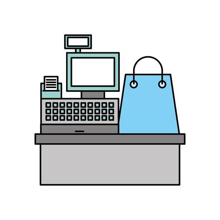 cash register machine receipts printer and gift bag shopping vector illustration