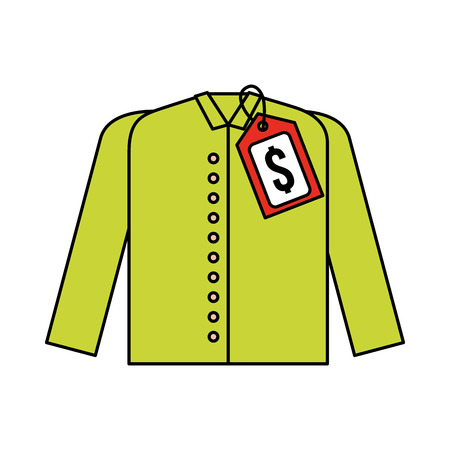 market clothes price tag new wear shirt vector illustration
