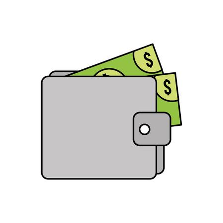 portefeuille geld bankbiljet dollar contant geld vector illustratie Stock Illustratie