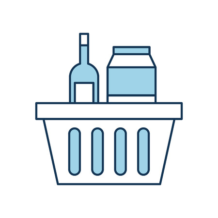 basket shopping with bottles drink products icon vector illustration