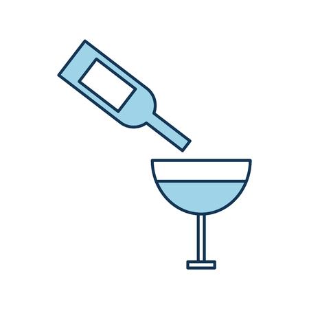 Wijn glazen fles gieten cup drink alcohol vector illustratie Stockfoto - 85285227