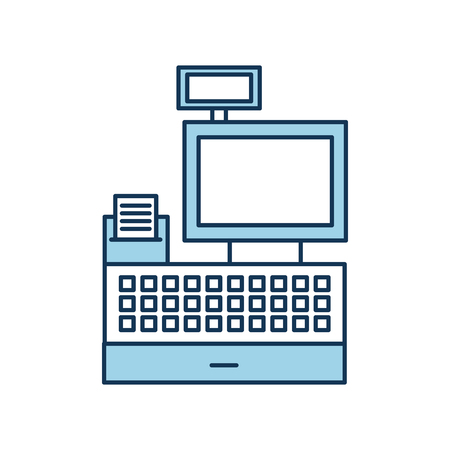 cash register machine receipts printer keypad display for supermarket vector illustration