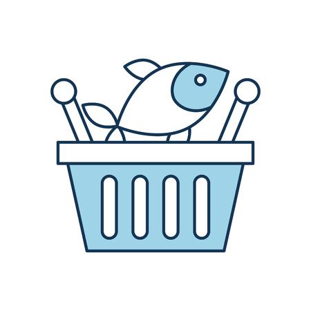 Korb einkaufen frischer Fisch Markt Meeresfrüchte Vektor-Illustration Standard-Bild - 85285235