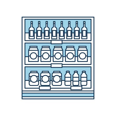 Supermarché épicerie et bouteilles boissons bouteilles et boîtes illustration vectorielle Banque d'images - 85285236
