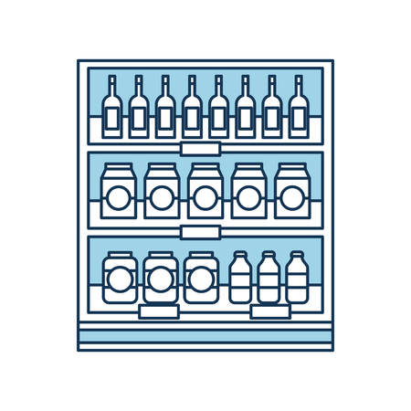 supermarket grocery and store drinks bottles and boxes vector illustration Stock Vector - 85285236