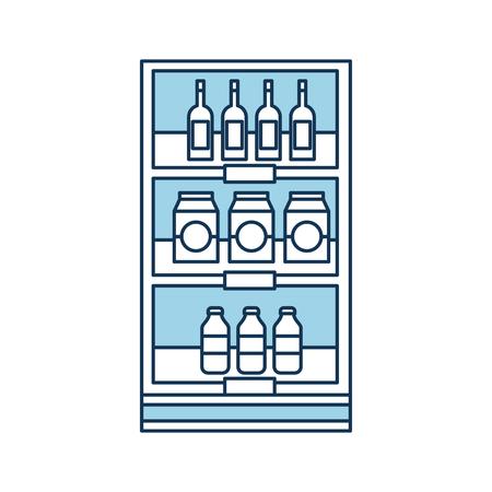 Drogheria supermercato e negozio bevande bottiglie e scatole illustrazione vettoriale Archivio Fotografico - 85285237