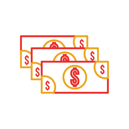 stack banknote cash money currency dollar vector illustration