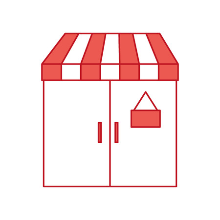 facade door store grocery glass board vector illustration Ilustração