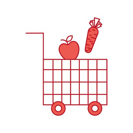 cart shopping food supermarket vegetable and fruit vector illustration