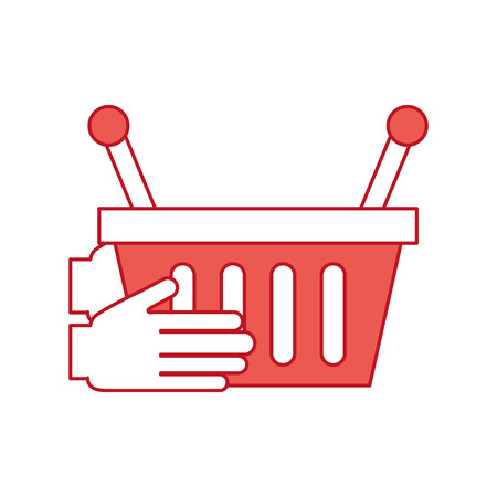 hand holding basket shopping empty vector illustration