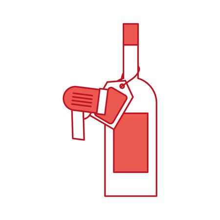 wijnfles glas met prijskaartje en code vectorillustratie scannen