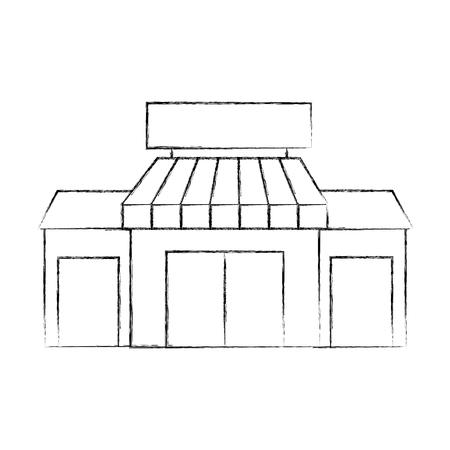 白い背景に隔離された店の食料品店の建物の外の façade