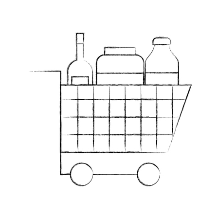 cart shopping supermarket bottle glass drink vector illustration Ilustracja