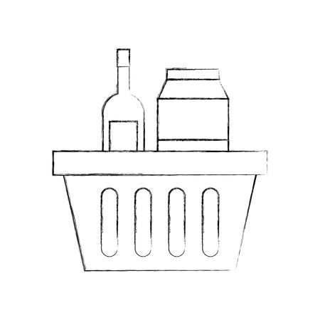 basket shopping with bottles drink products icon vector illustration Stock Vector - 85285622