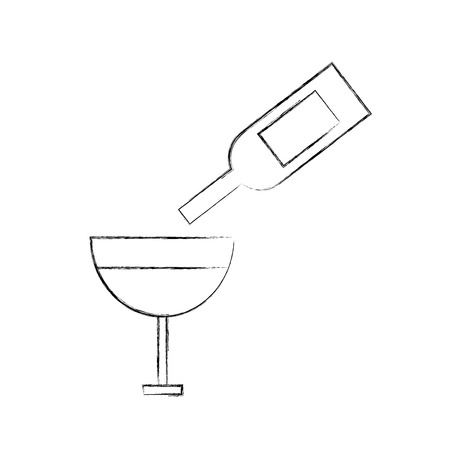 wine glass bottle pouring cup drink alcohol vector illustration