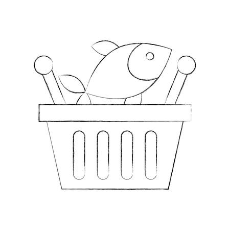 Korb einkaufen frischer Fisch Markt Meeresfrüchte Vektor-Illustration Standard-Bild - 85288865