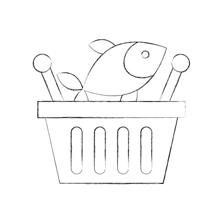 basket shopping fresh fish market seafood vector illustration