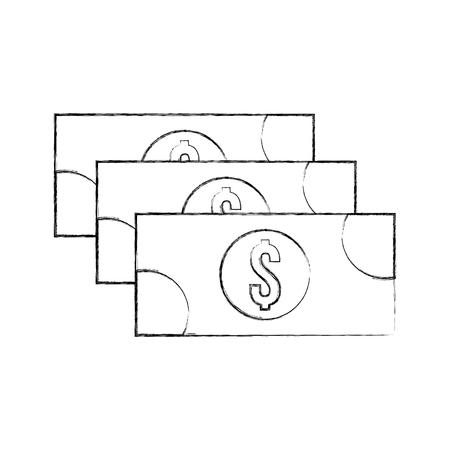 스택 지폐 현금 돈 통화 달러 벡터 일러스트 레이션 일러스트