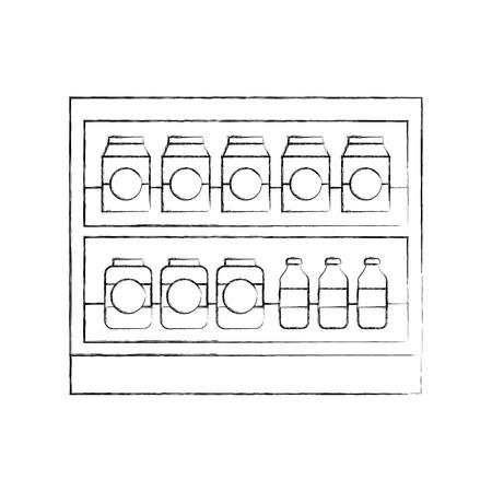 Supermarché épicerie et bouteilles boissons bouteilles et boîtes illustration vectorielle Banque d'images - 85289311