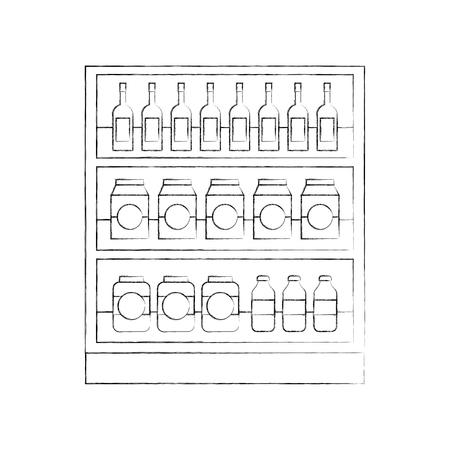 Supermarché épicerie et bouteilles boissons bouteilles et boîtes illustration vectorielle Banque d'images - 85285660