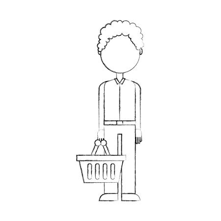 Personaje con cesta de compras de pie en la ilustración de vector de fondo blanco Foto de archivo - 85285712