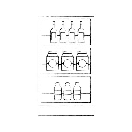 supermarket grocery and store drinks bottles and boxes vector illustration Stock Vector - 85289312