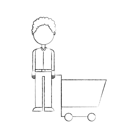 young man pushing trolley shopping customer vector illustration