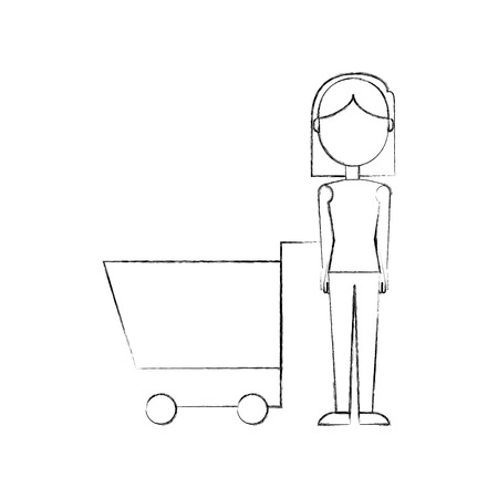 woman with shopping cart supermarket empty vector illustration Stock Vector - 85289314