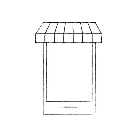 スマートフォンストア食料品オンラインデジタルショップベクトルイラスト  イラスト・ベクター素材