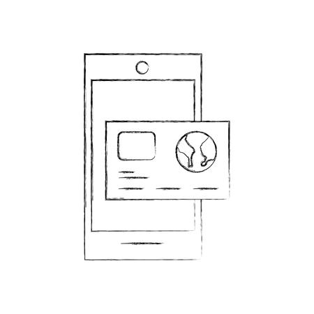신용 카드 뱅킹 온라인 애플 벡터 일러스트와 함께 스마트 폰