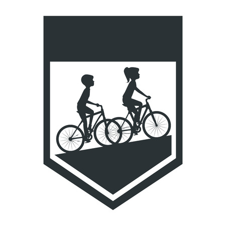 cycling people riding a bicycle frame vector illustration design Illustration