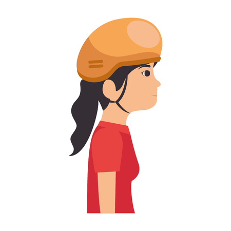 woman with bicycle helmet vector illustration design