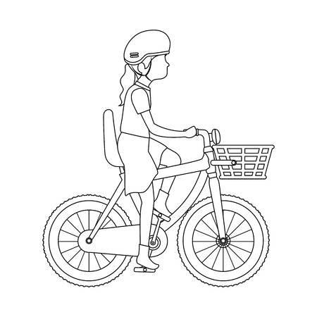 woman cyclist riding a bicycle vector illustration design Illustration