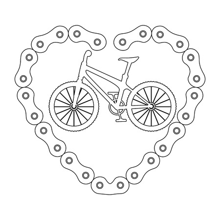 racing sign: bicycle vehicle with heart chain vector illustration design