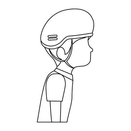 man met fiets helm vector illustratie ontwerp