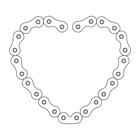 heart with chain bicycle vector illustration design