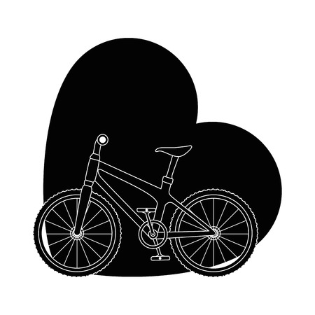 bicycle vehicle with heart vector illustration design