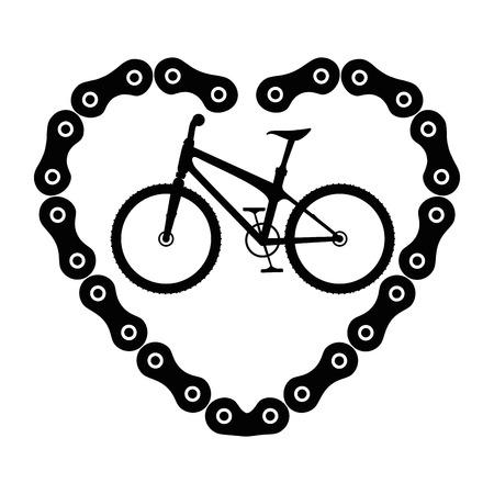 Veicolo della bicicletta con il disegno della illustrazione di vettore della catena del cuore Archivio Fotografico - 85340806
