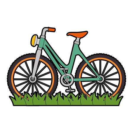 bicycle vehicle with grass vector illustration design Illustration