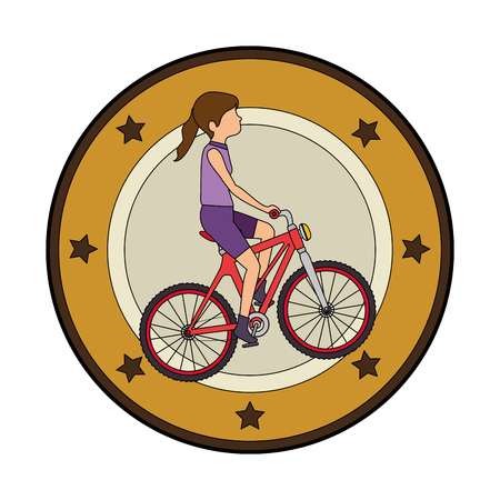 woman cyclist riding a bicycle elegant frame vector illustration design
