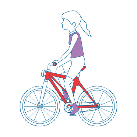 woman cyclist riding a bicycle vector illustration design Ilustrace