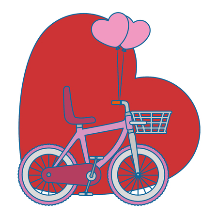 racing sign: bicycle vehicle with heart vector illustration design