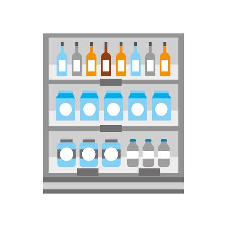 スーパーマーケットの食料品店や店舗の飲料ボトルや箱ベクトルイラスト