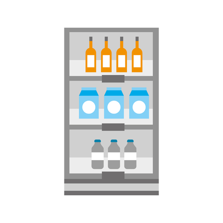supermarket grocery and store drinks bottles and boxes vector illustration Stock Vector - 85357530
