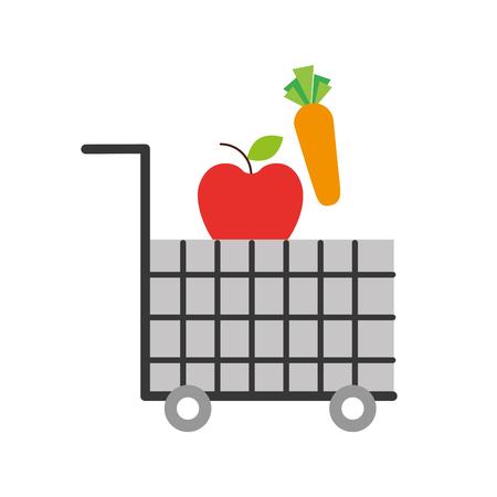 Carrito de compras comida supermercado vegetales y frutas ilustración vectorial Foto de archivo - 85357533